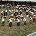 Nembe dancers, from the River Niger Delta area, performing at the University of Ibadan campus, 1968.