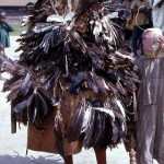 Masquerade in street. The masquerade can entertain, commend achievers, chastise evil-doers, bring messages of hope or peace, or mourn the dead. Ila, southwestern Nigeria. 1972.