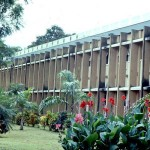 The University of Ibadan was established in 1948. This picture shows the Queen Elizabeth Hall on the campus. This was the women's main hall of residence. !977.