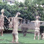 Carved figures outside the Institute of African Studies, University of Ibadan campus. 1977.