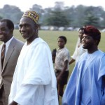 I took this rare photo in November 1963 on the University of Ibadan campus. Left is Prof Kenneth Dike, the first Nigerian Vice-Chancellor of the University. With him is Sir Abubakar Tafawa Balewa, the Nigerian Prime Minister, who was on campus for his installation as Chancellor of the University. Balewa was killed during the first military coup in February 1966; Dike returned to eastern Nigeria at the start of the Biafran war.