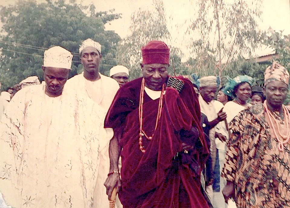 The Orangun attending a traditional ceremony in Ila in 1992.